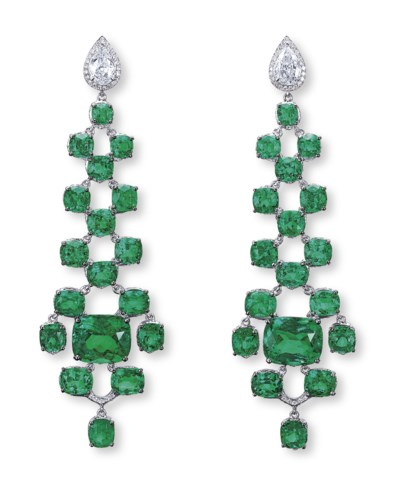 A UNIQUE PAIR OF EMERALD AND D