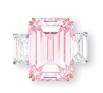 The Perfect Pink. A superb coloured diamond and diamond ring. Sold for HK$179,860,000 on 29 November 2010 at Christie's in Hong Kong