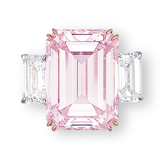 THE PERFECT PINK  A SUPERB COLOURED DIAMOND AND DIAMOND RING