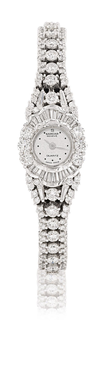 SARCAR  LADY'S WHITE GOLD AND DIAMOND-SET QUARTZ BRACELET WATCH