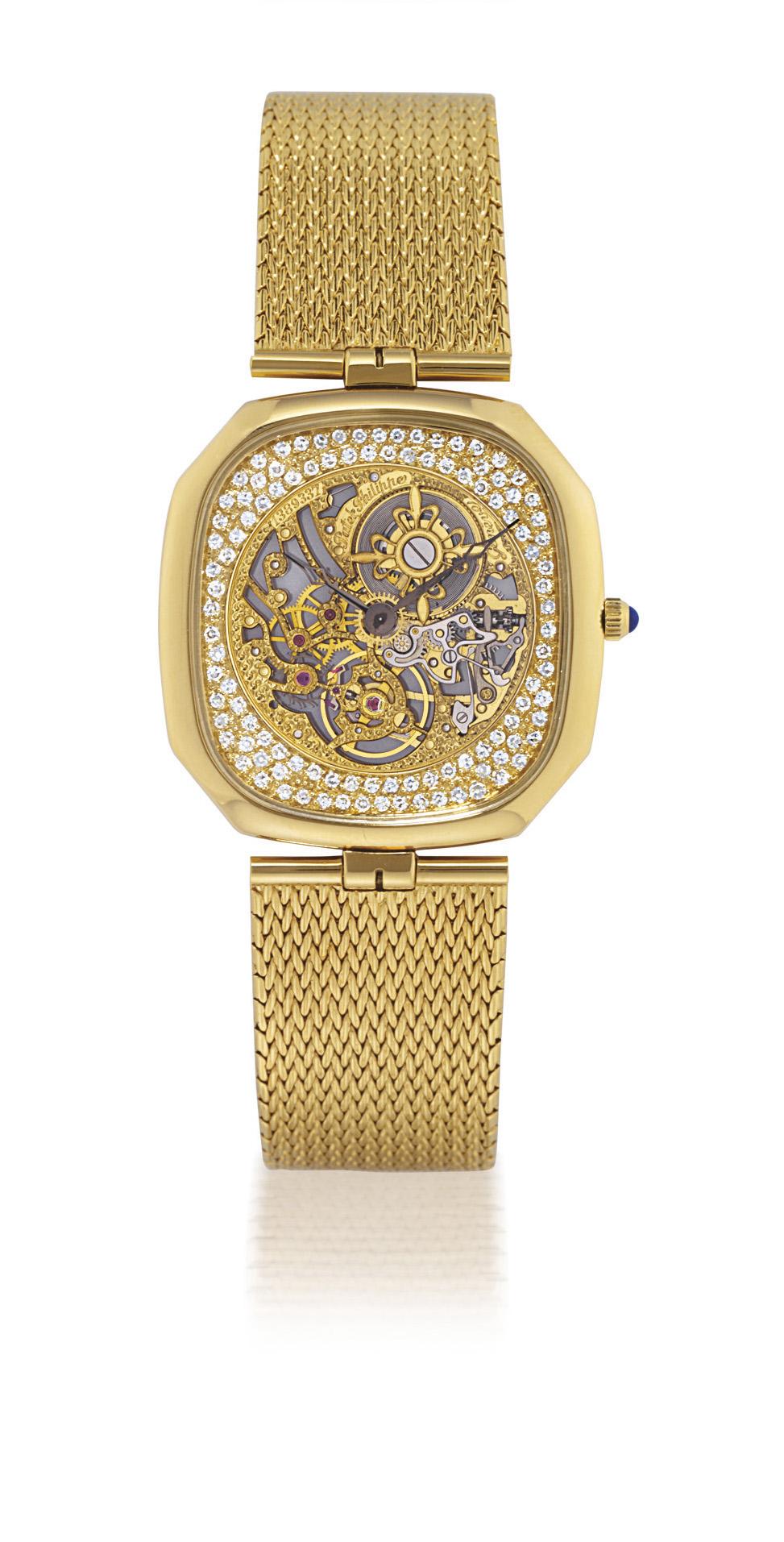 PATEK PHILIPPE, REF. 3887  YELLOW GOLD AND DIAMOND-SET MANUALLY-WOUND SKELETONISED BRACELET WATCH