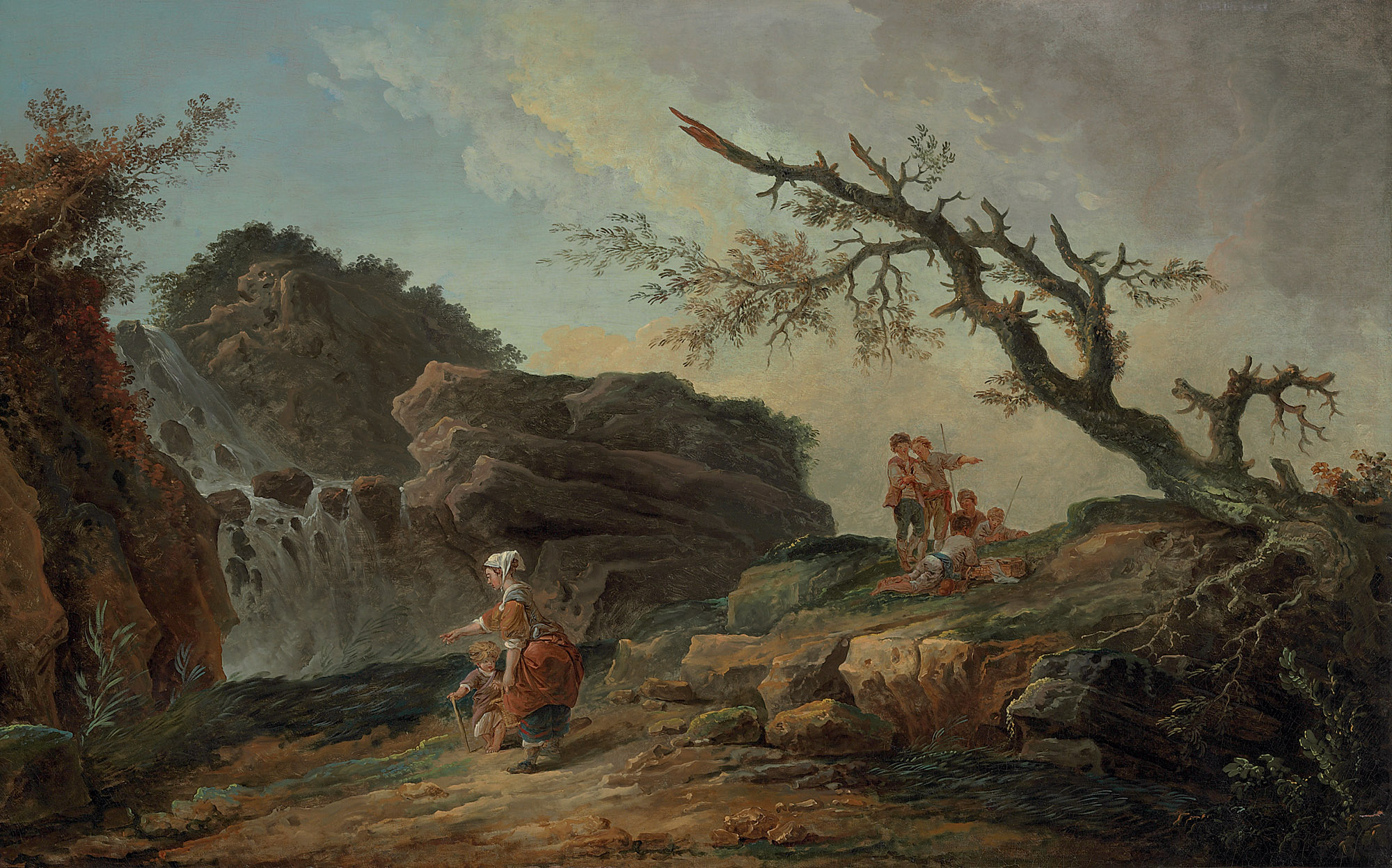 La Cascade: a rocky hillside with a peasant woman and child near a waterfall and boys resting by a blasted tree
