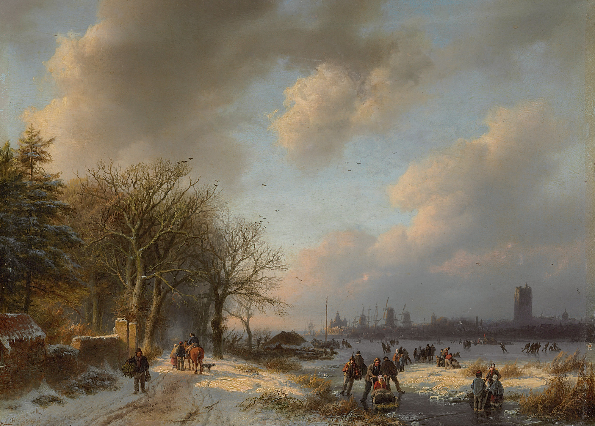 Skaters on a waterway with a koek-en-zopie beyond