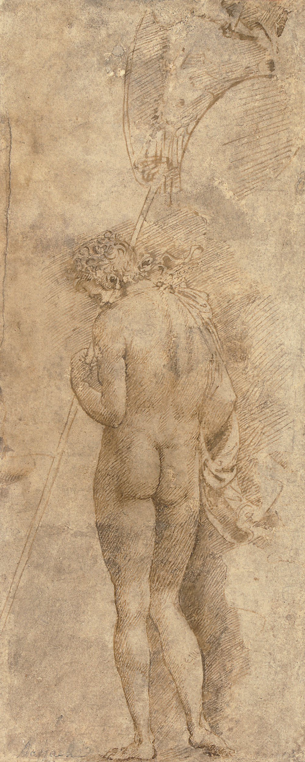 A standing male nude, seen from behind, holding a trophy standard
