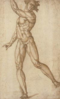 A standing male nude with his left arm raised