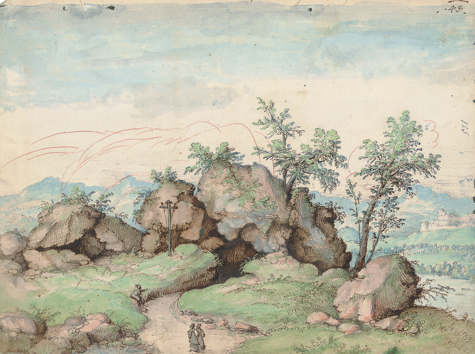 Travellers approaching a rock formation, a mountainous river landscape beyond