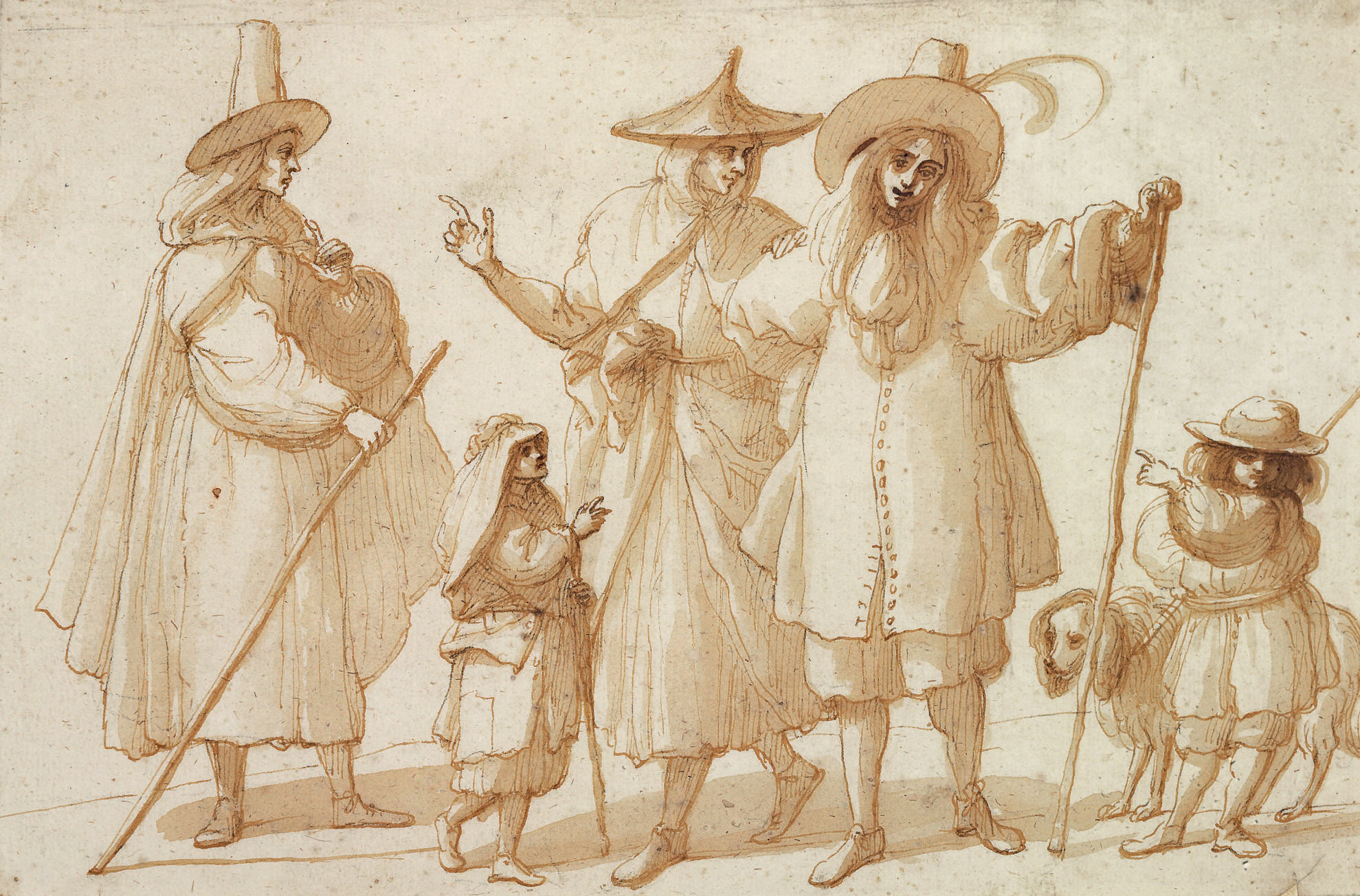 A group of elegantly dressed figures with two children and a dog
