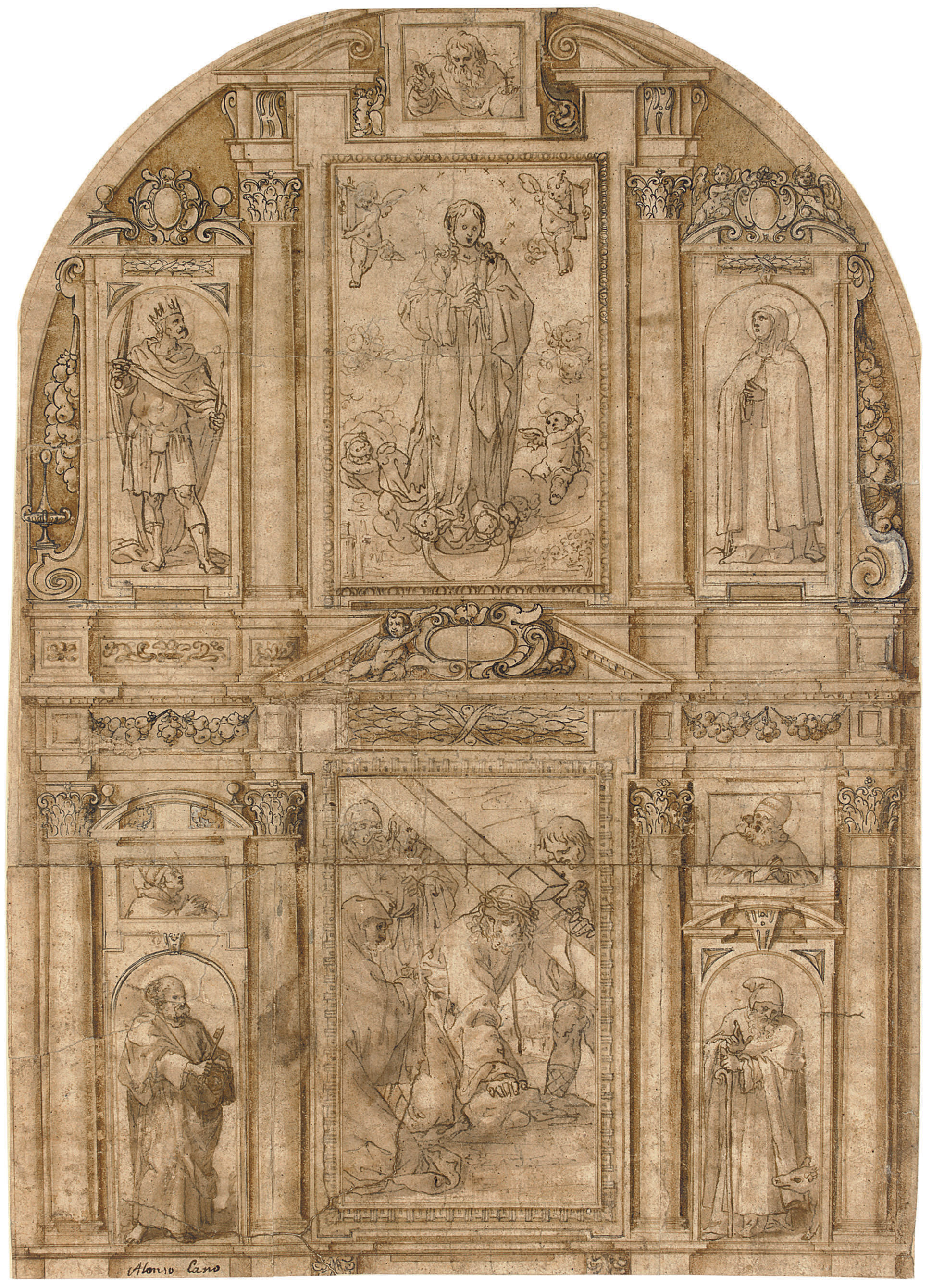 Design for an elaborate altarpiece with a central panel of The Way to Calvary with Saint Veronica, flanked by panels of Saint Peter and Saint Anthony Abbot and two half-length bishop saints, surmounted by a panel of the Immaculate Conception, surrounded by panels possibly of Saints Clare and Ferdinand of Seville, God the Father above