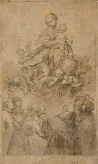 The Virgin and Child in glory, with a putto presenting the rosary to Saint Dominic, accompanied by Saints Anthony Abbot, Clare, Francis, Vincent Ferrer and Catherine of Siena
