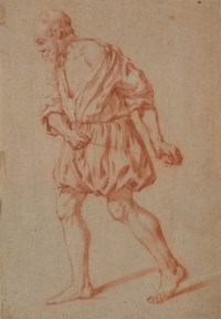 An old man walking, pulling a rope
