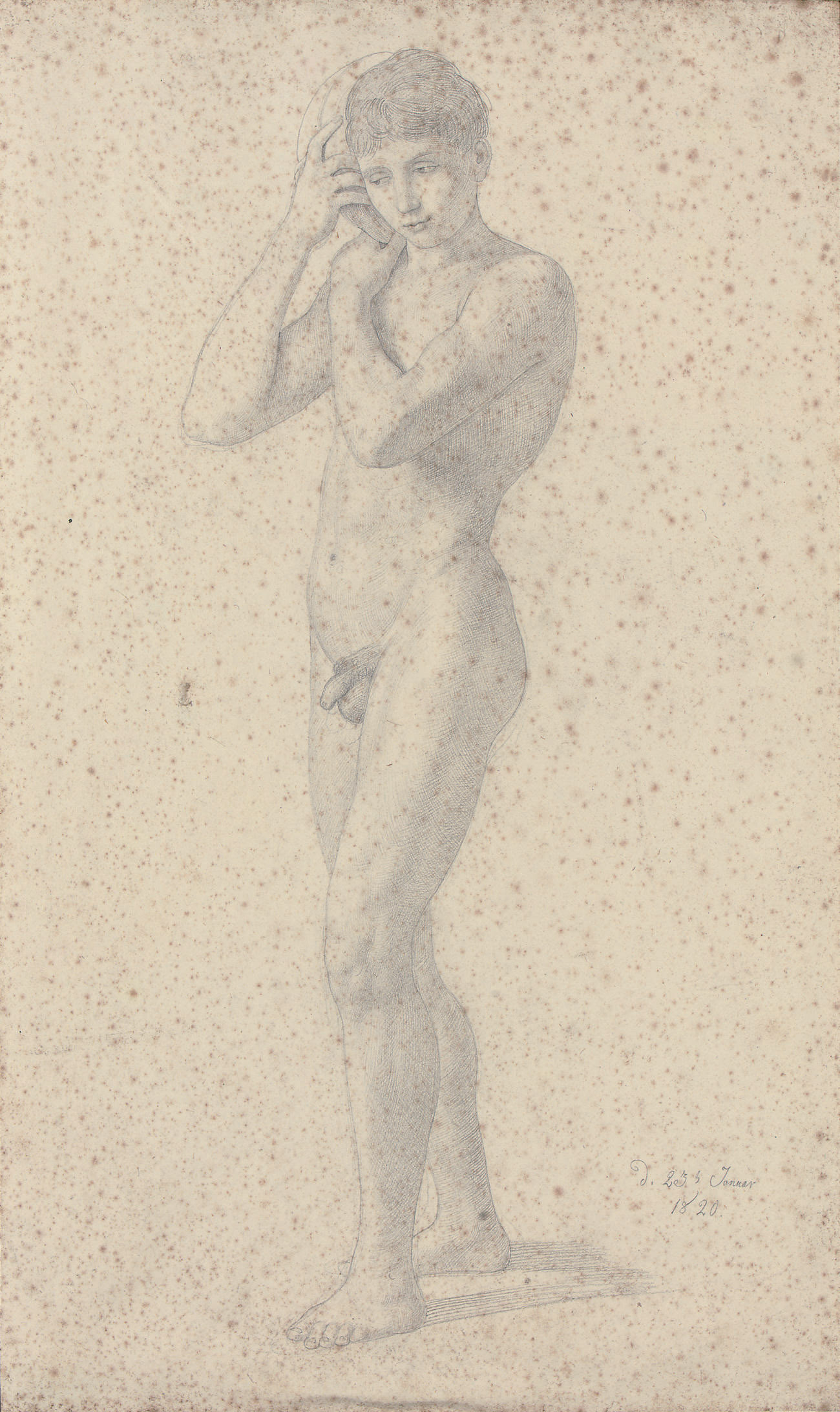 A young male nude listening to the sound of the sea from a conch shell