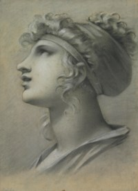 Head of a muse in profile facing left
