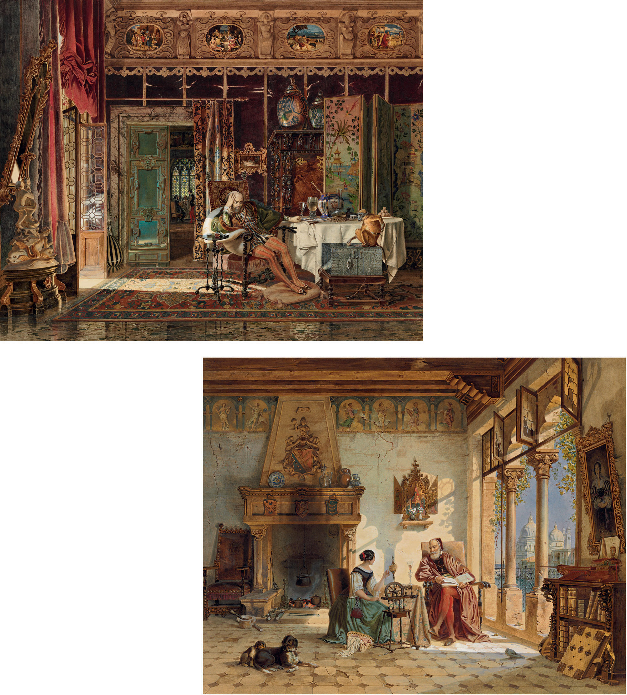 A troubadour brooding in an elaborate interior; and A priest and a woman spinning yarn in a Venetian interior
