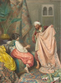 A young bride selecting her wedding silks