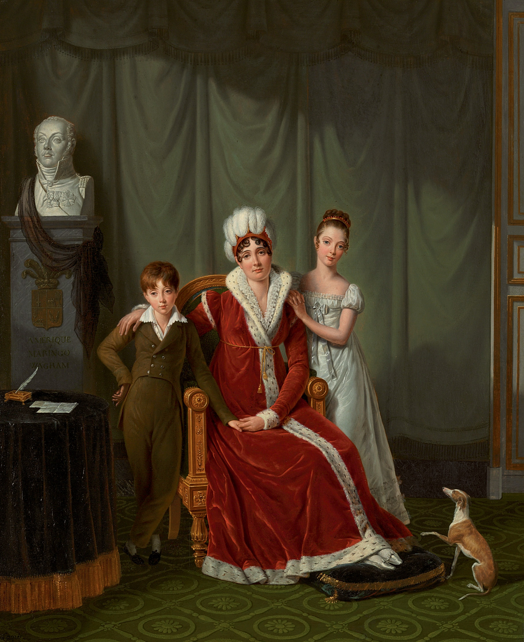 Portrait of General Baudet's wife and her two children, with a bust of the General behind
