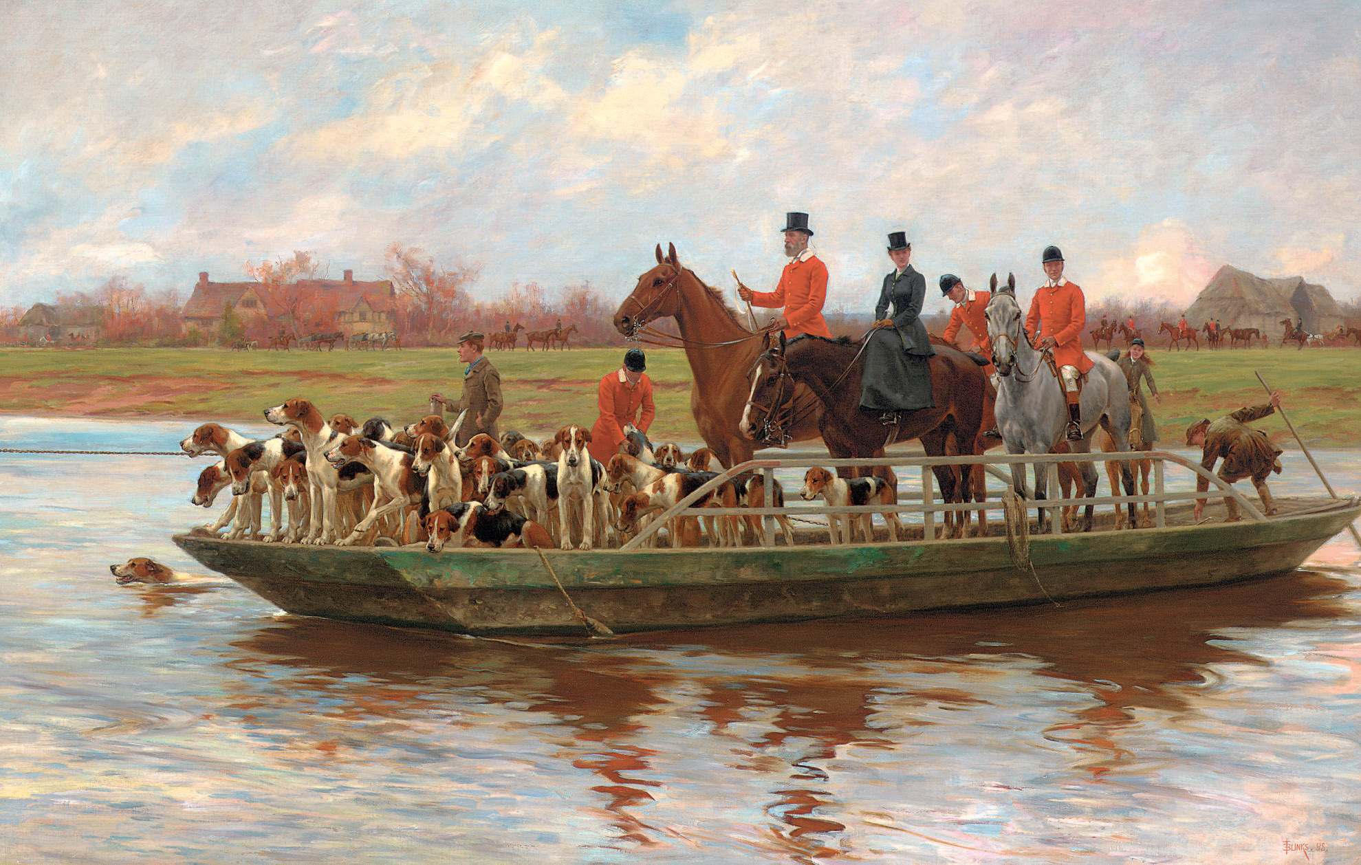 Mr. Edward Lycett Green and the York and Ainsty Hounds on the Ferry at Newby