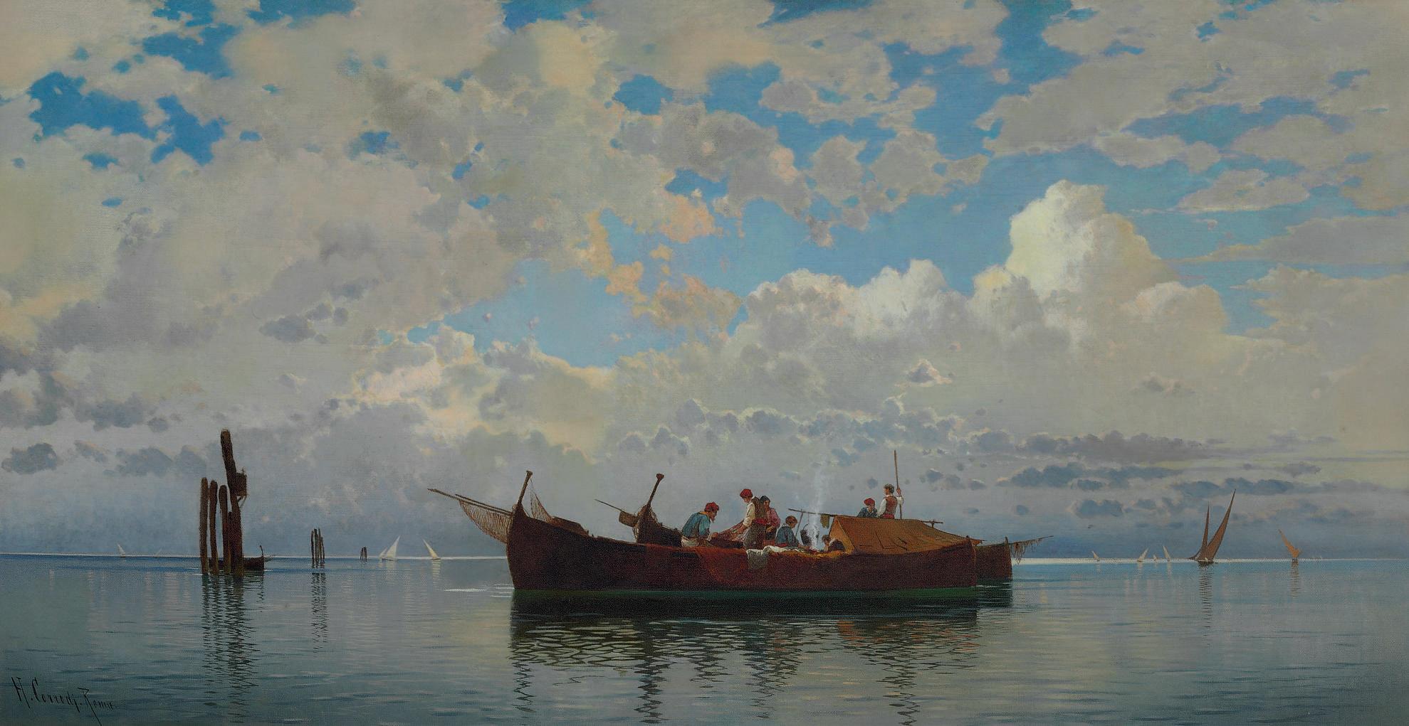 Fishing boats on a Venetian lagoon