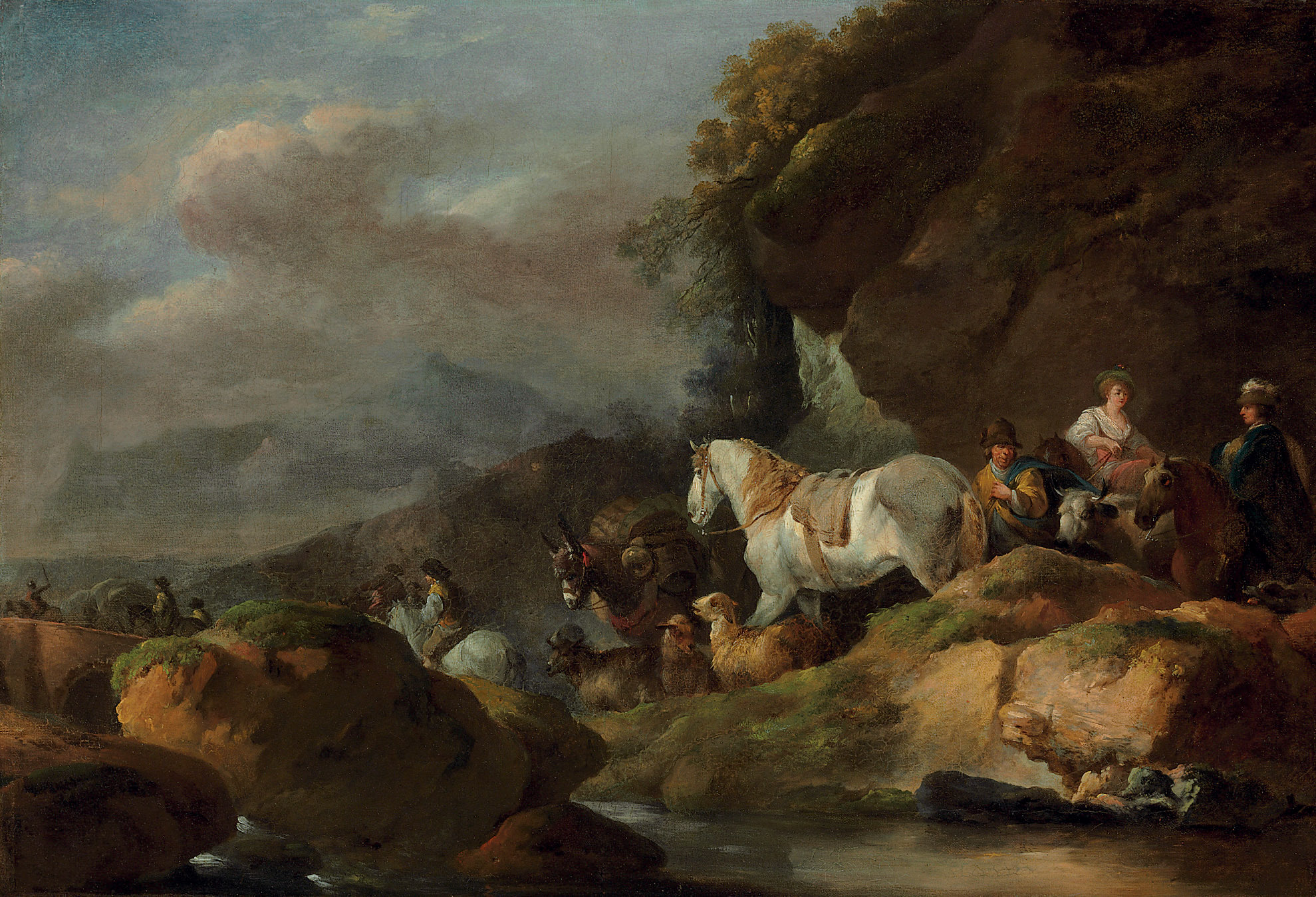 A herder and travelers on a mountain pass near a stream