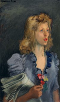 Girl with Long Blonde Hair Holding a Rose