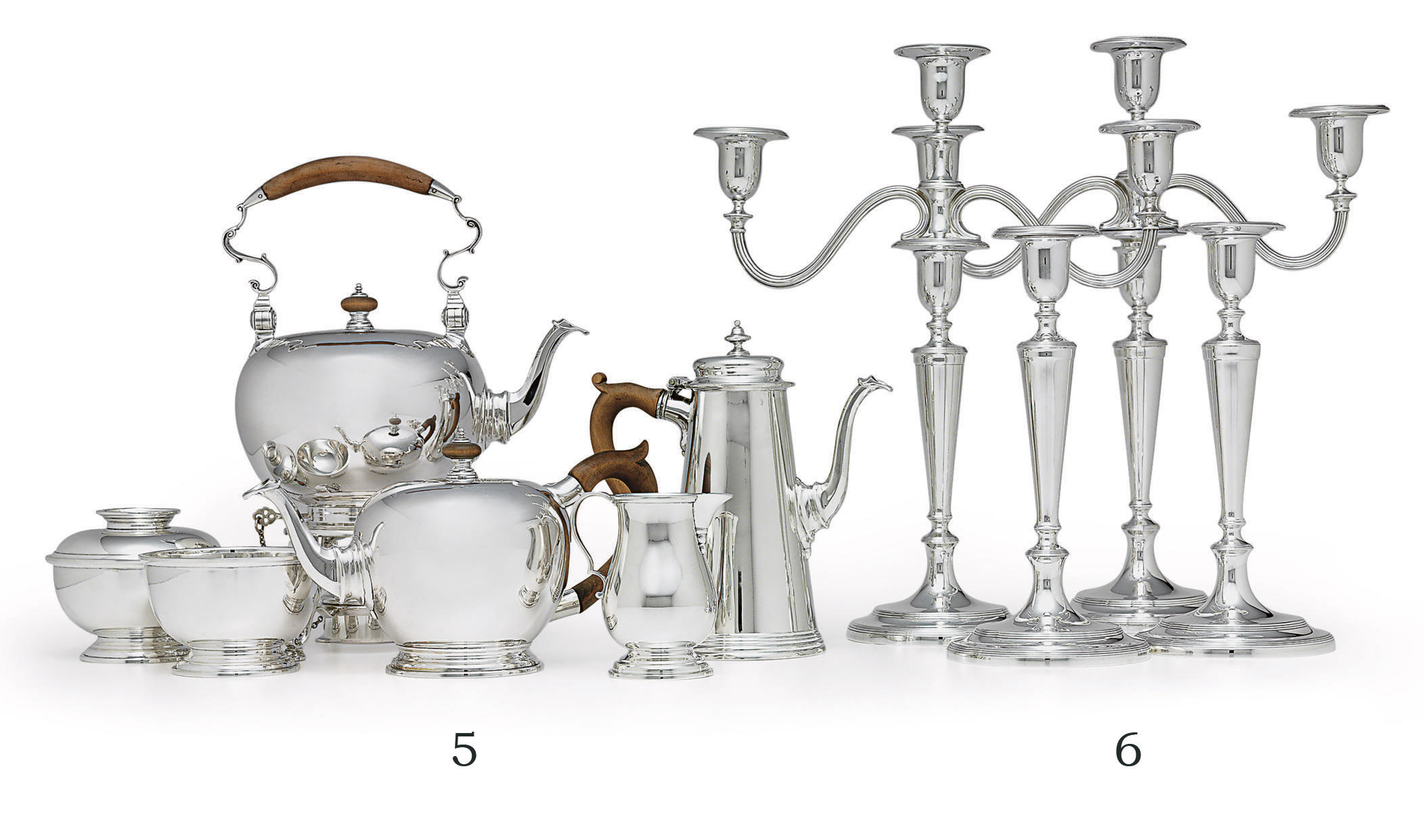 A SIX-PIECE SILVER TEA AND COFFEE SERVICE