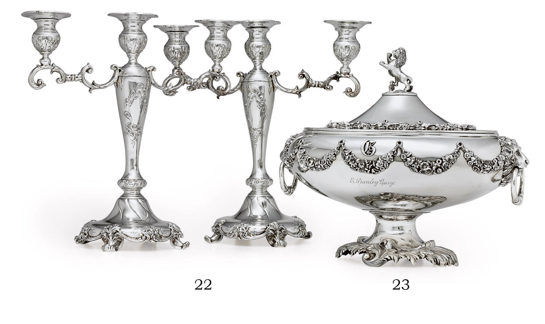 A PAIR OF SILVER THREE-LIGHT CANDELABRA