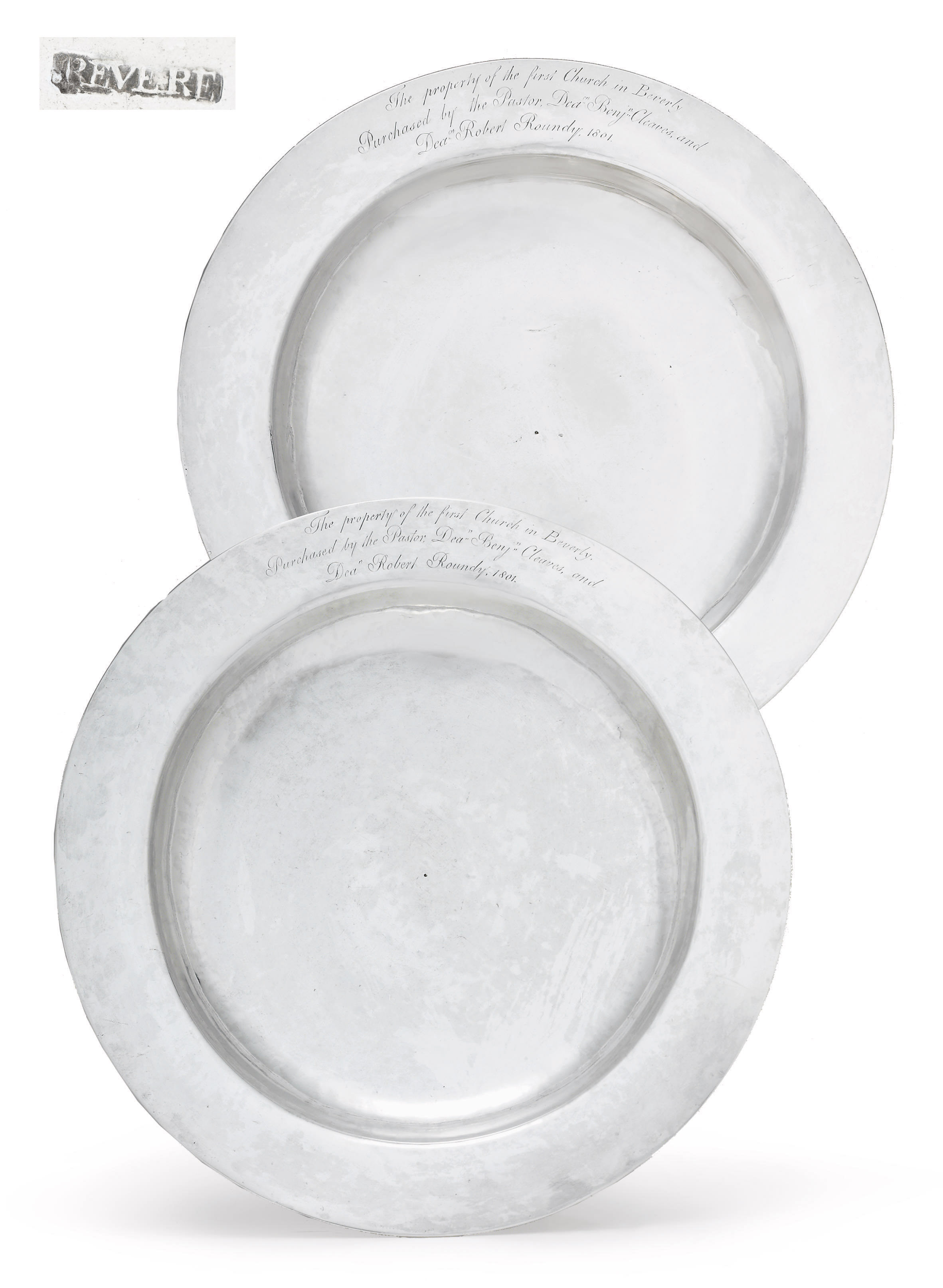A PAIR OF SILVER COMMUNION DISHES