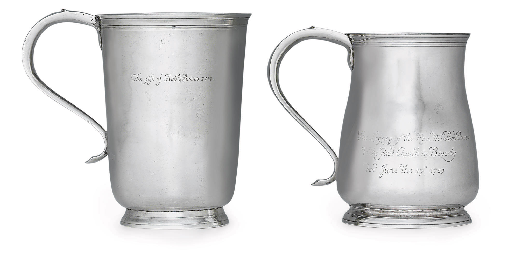 A LARGE SILVER BEAKER AND CUP