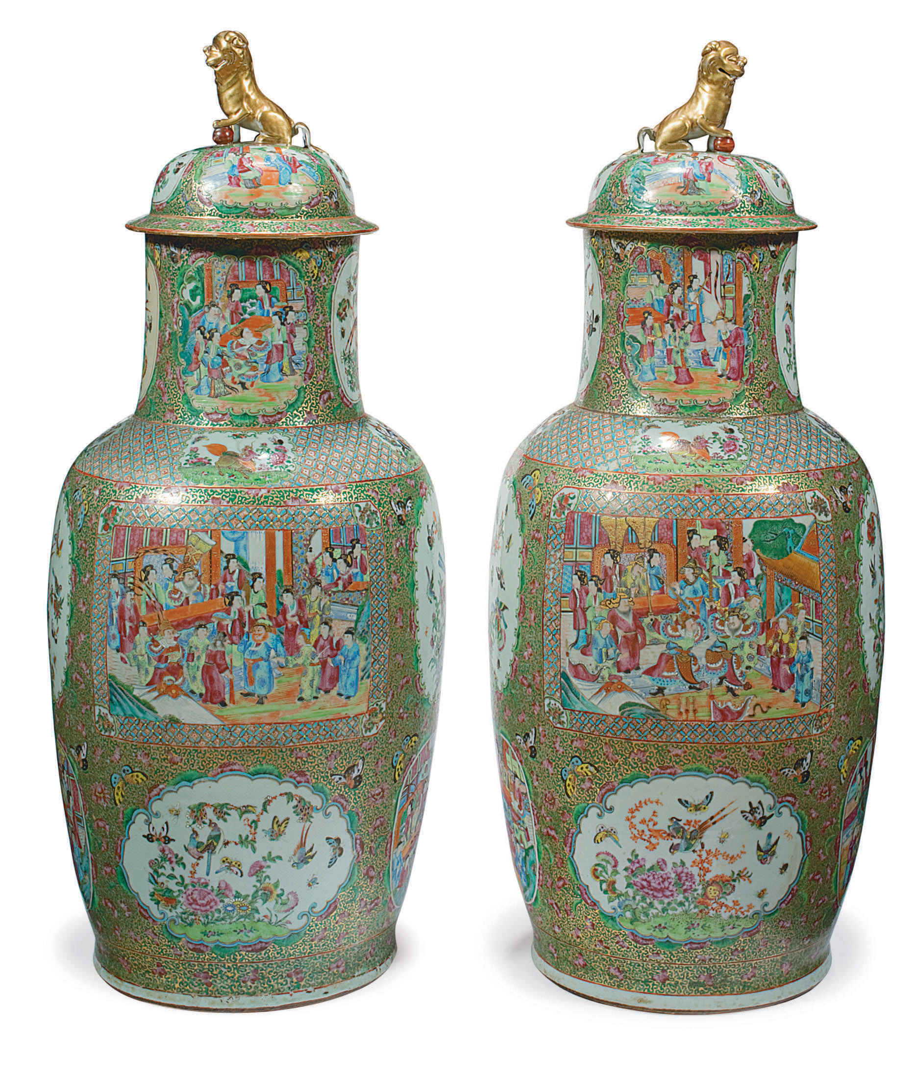 """A VERY LARGE PAIR OF """"CANTON FAMILLE ROSE"""" VASES AND COVERS"""