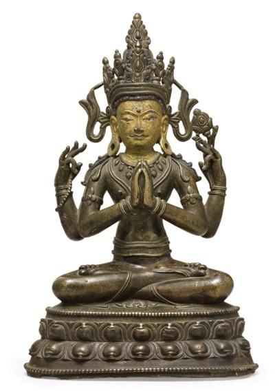 A bronze figure of Chaturbhuja