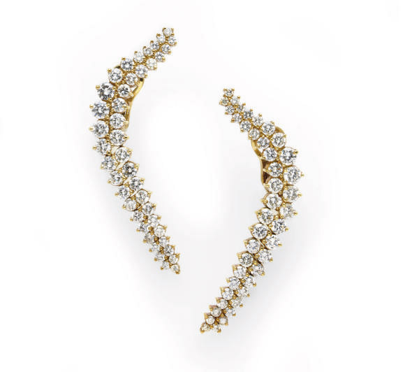 A PAIR OF DIAMOND AND 14K GOLD EAR PENDANTS, BY JOSE HESS