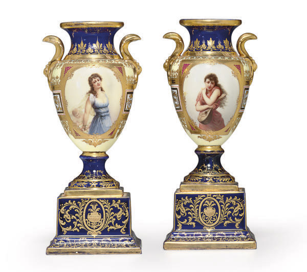 A PAIR OF VIENNA STYLE 'JEWELED' PORTRAIT VASES ON FIXED STANDS, 'MUSIK' AND 'GEFESSELT'