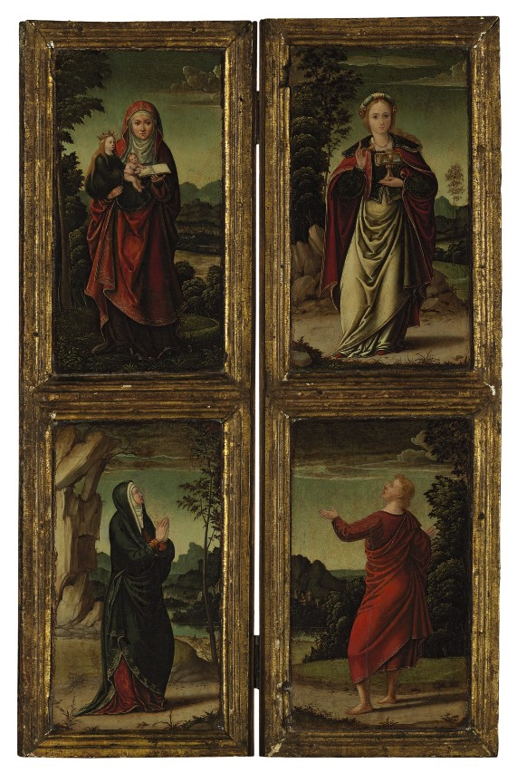 Two wings of an altarpiece: Saint Anne and the Virgin Mary; and Mary Magdalene and Saint Peter