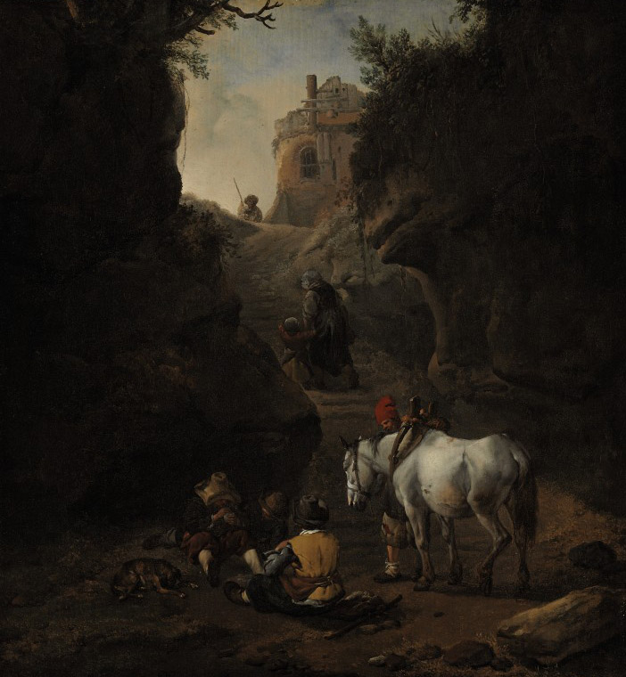Peasants playing cards by a white horse