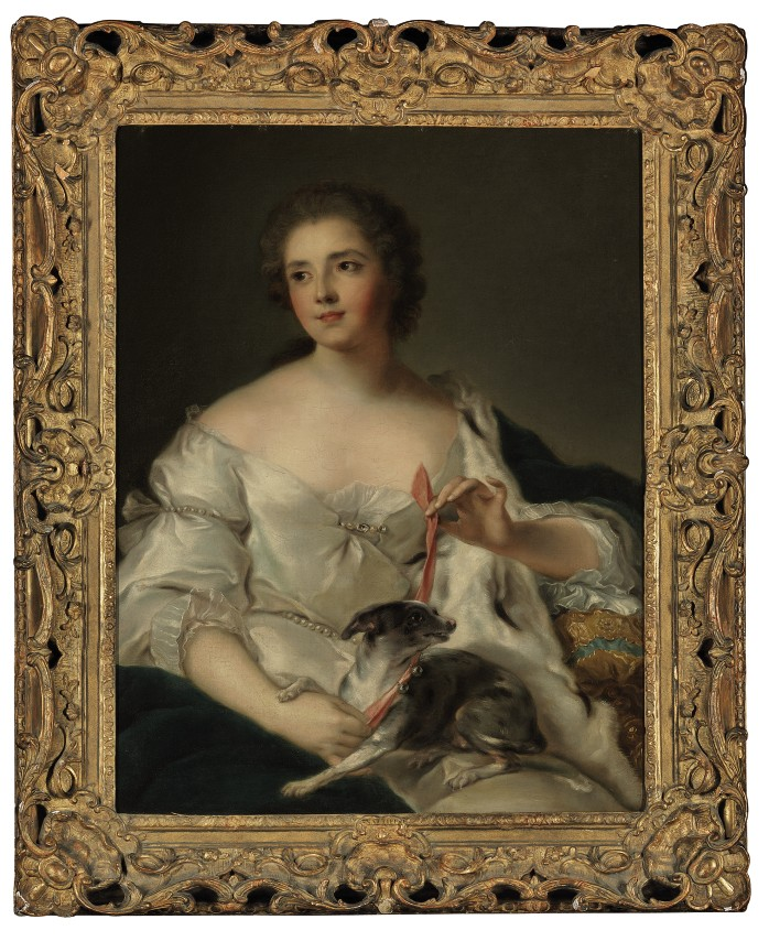 Portrait of Henriette Nicole (née d'Egmont Pignatelli), Duchesse de Luynes (1719-1782), three-quarter length, with her dog