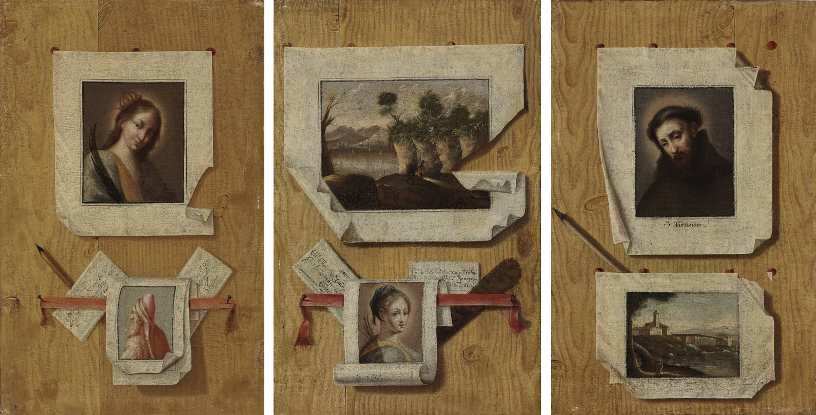 A trompe l'oeil still life with a painting of Saint Francis of Assisi pinned to a wall; and two companion trompe l'oeil paintings