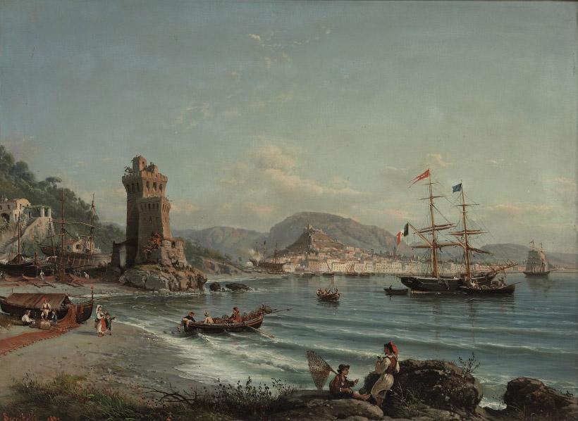 An Italian brig and a Greek barque anchored off the Neapolitan coast