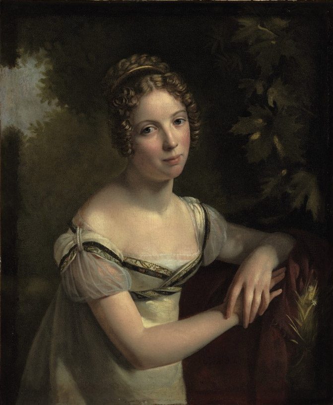 Portrait of a lady in a white silk dress