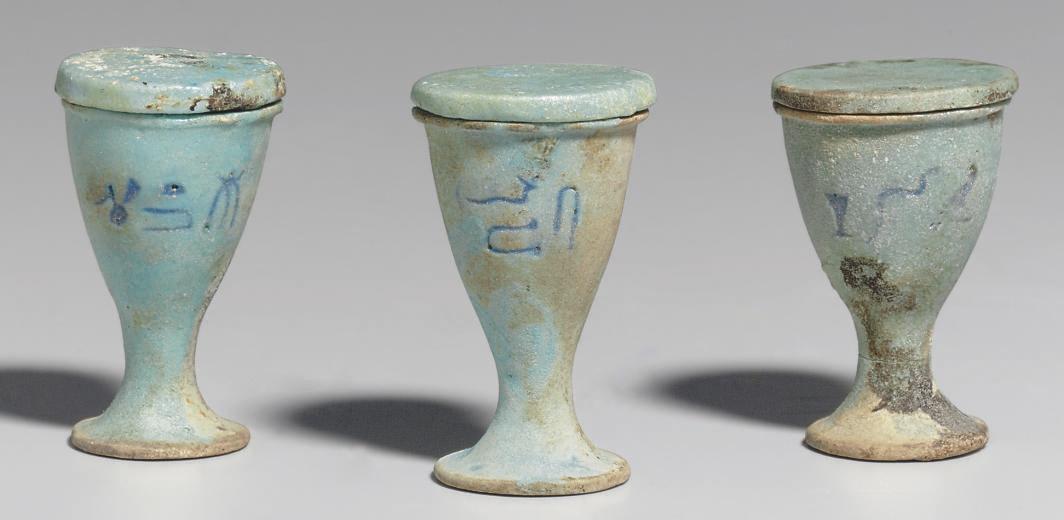 THREE EGYPTIAN FAIENCE CUPS