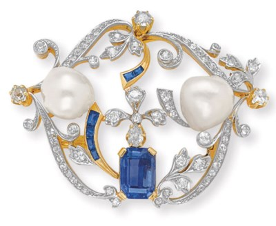 AN ANTIQUE DIAMOND, SAPPHIRE A