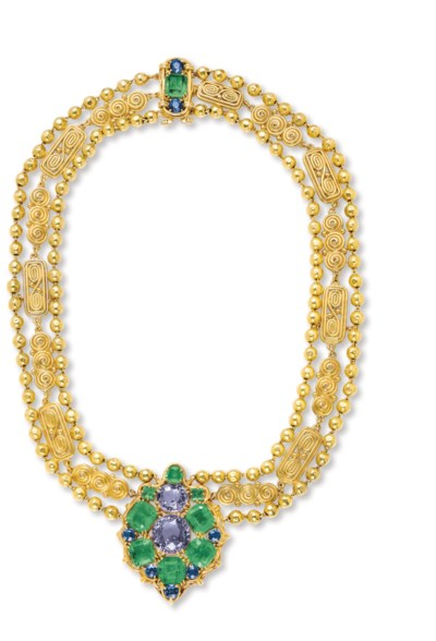 A SAPPHIRE, EMERALD AND GOLD N