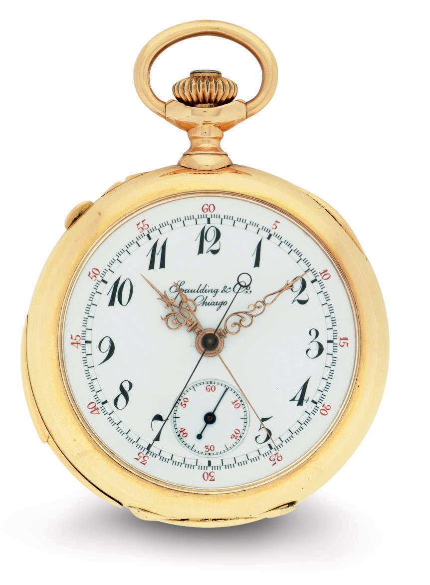PATEK PHILIPPE.  A FINE AND RARE 18K PINK GOLD OPENFACE MINUTE REPEATING SPLIT-SECONDS CHRONOGRAPH KEYLESS LEVER POCKET WATCH WITH BREGUET NUMERALS AND AMERICAN CASE