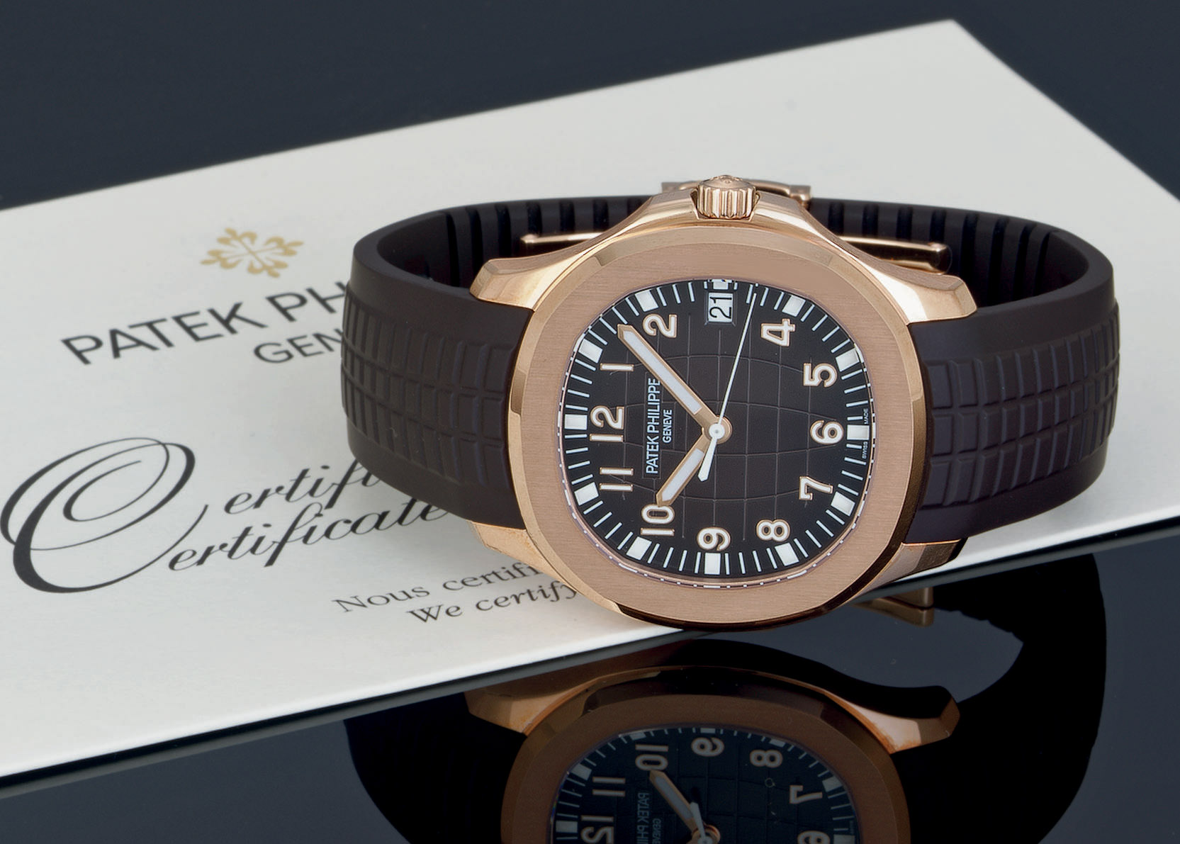 PATEK PHILIPPE. AN 18K PINK GOLD AUTOMATIC WRISTWATCH WITH DATE ...
