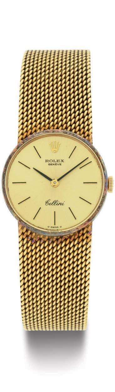 ROLEX.  A LADY'S 18K GOLD WRIS