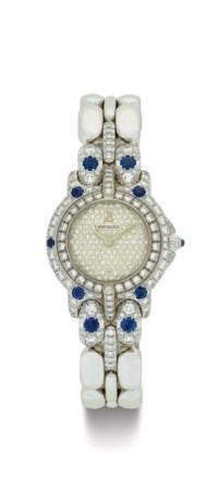 BERTOLUCCI. A LADY'S 18K WHITE GOLD, DIAMOND AND SAPPHIRE WRISTWATCH WITH BRACELET