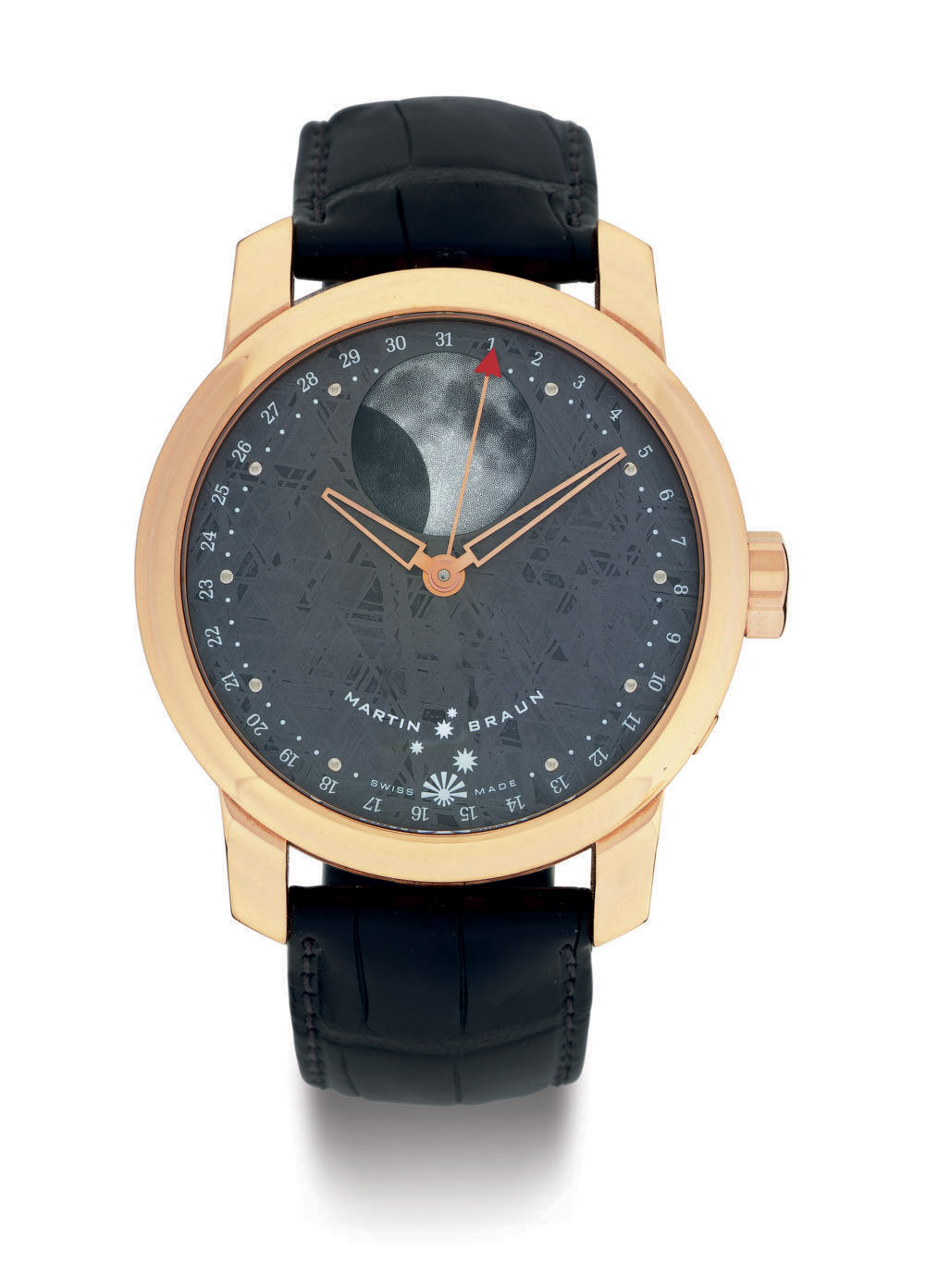 MARTIN BRAUN.  AN 18K PINK GOLD AND METEORITE AUTOMATIC WRISTWATCH WITH DATE AND MOON PHASES