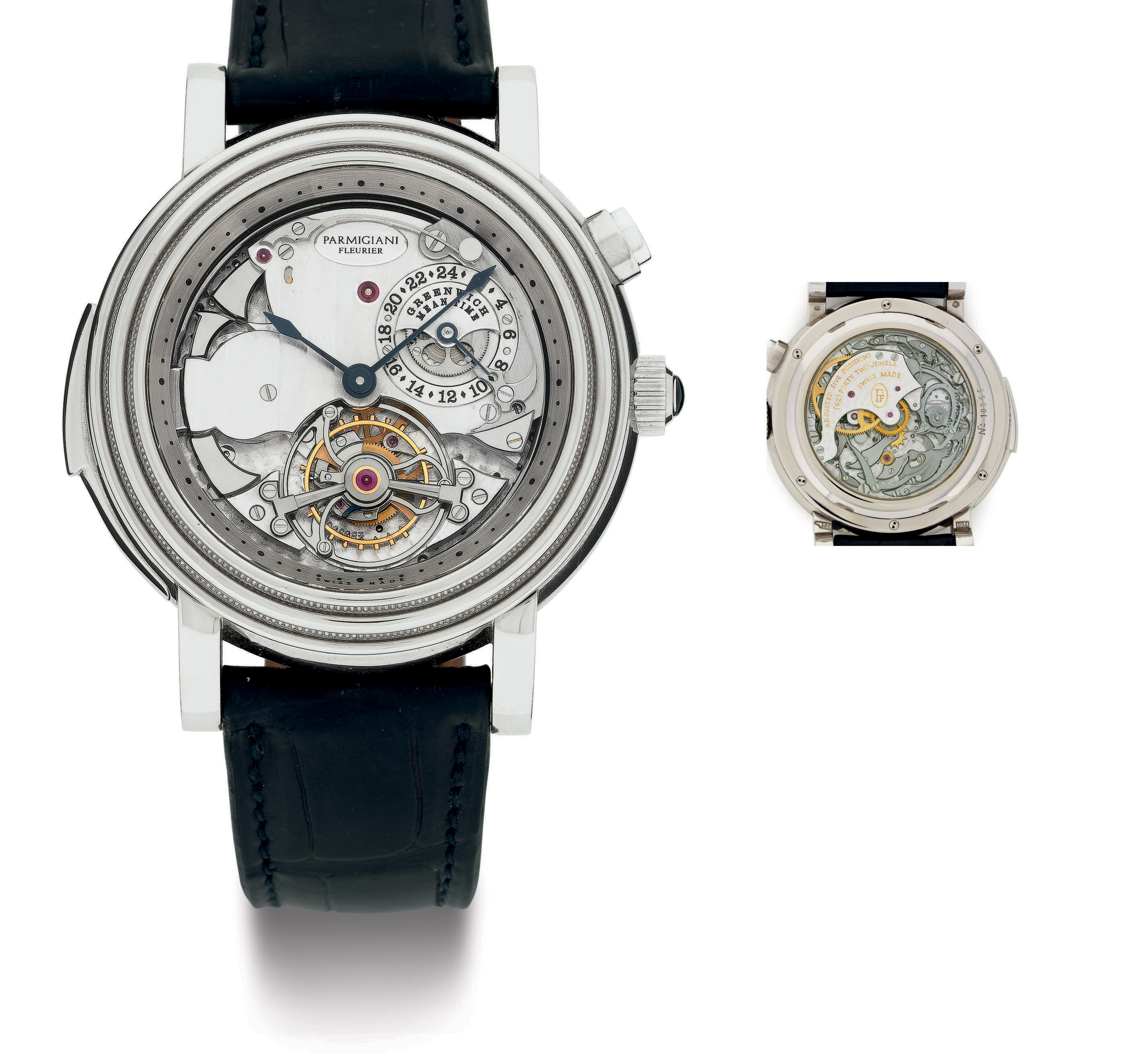 PARMIGIANI FLEURIER.  A RARE AND IMPORTANT SKELETONIZED 18K WHITE GOLD MINUTE REPEATING WESTMINSTER CHIMES TOURBILLON WRISTWATCH WITH 24 HOUR DUAL TIME ZONE