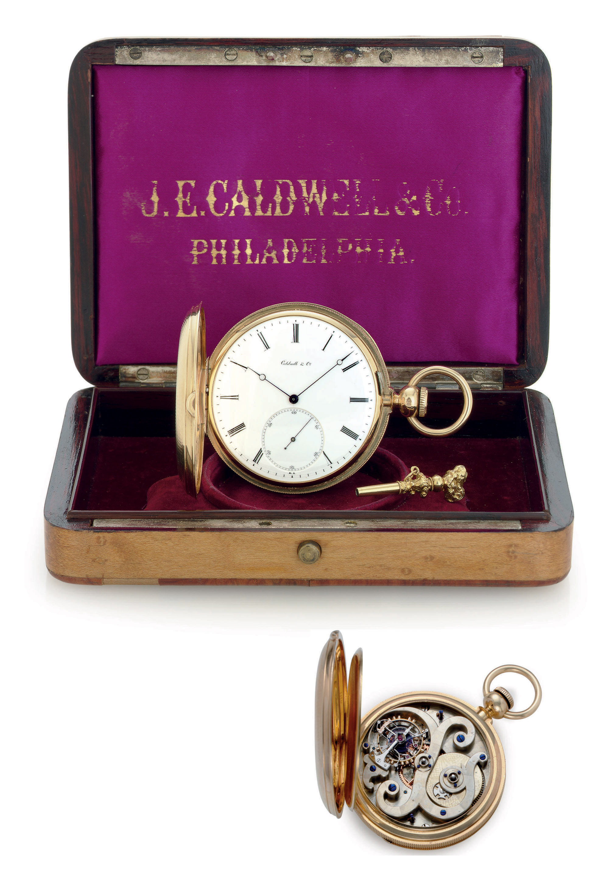 CALDWELL.  AN 18K GOLD HUNTER CASE KEY WOUND PIVOTED DETENT TOURBILLON POCKET WATCH WITH ORIGINAL PRESENTATION BOX