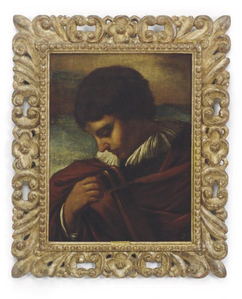 Boy tuning a lute