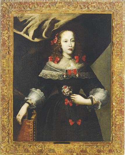 Portrait of a lady wearing a black dress and red bows