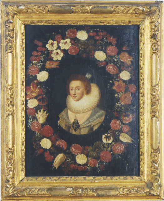 Portrait of Prince Frederick Hendrik of Orange in a flower surround; and a companion portrait of a lady
